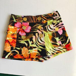 Cache Floral Print Skort Shorts Size 10